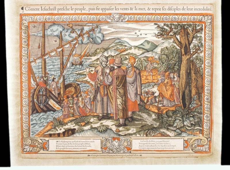 Coment Iesuchrist presche le peuple, puis fit apaiser les vents & la mer, & reprit ses disciples de leur incrédulité (titre inscrit)