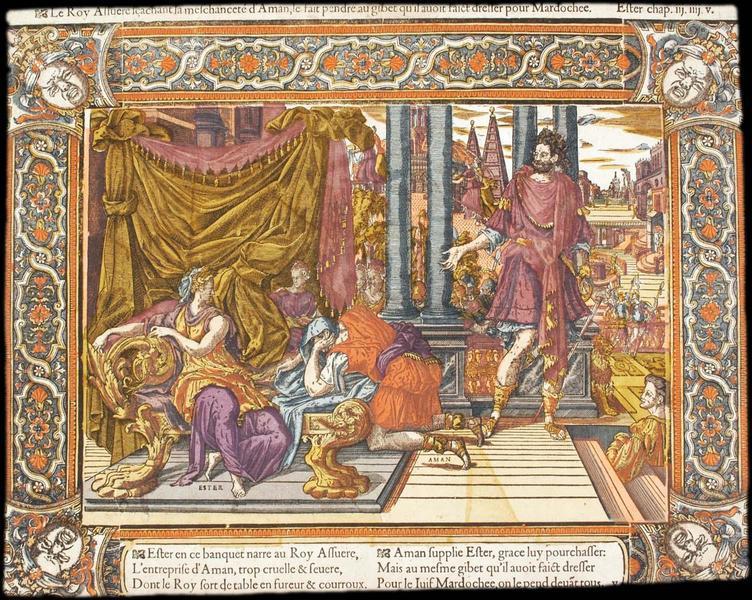 Le Roy Assuere sçachant la meschanceté d'Amamn, le fait pendre au gibet qu'il avoit faict dresser pour Mardochee. Ester chap. iij.iiij.v (titre inscrit)