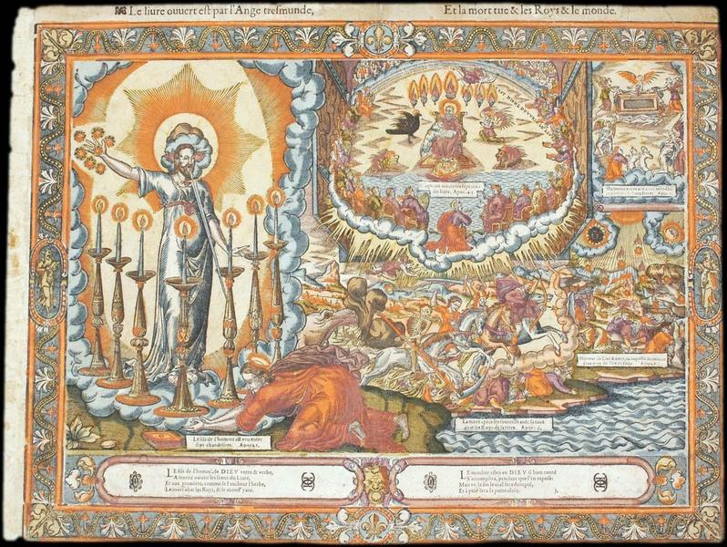 Le livre ouvert est par l'Ange tresmunde, Et la mort tue & les Roys & le monde (titre inscrit)