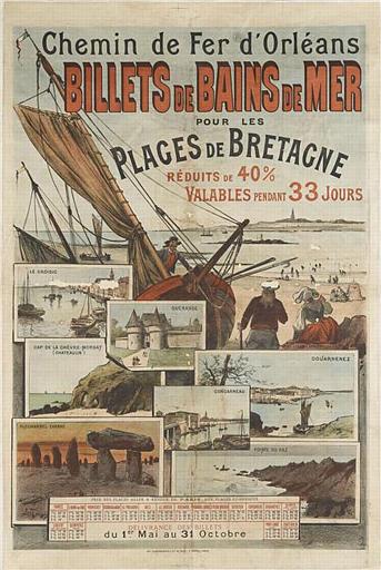 Chemin de Fer d'Orléans / BILLETS DE BAINS DE MER / POUR LES / PLAGES DE BRETAGNE / RÉDUITS DE 40% / VALABLES PENDANT 33 JOURS (titre inscrit)