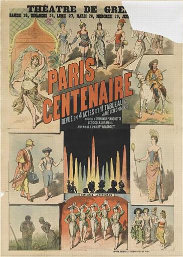 THEÂTRE DE GRE[échoppé] / PARIS / CENTENAIRE / REVUE EN 4 ACTES ET 11 TABLEAUX / de Mr. LEMONNIER / MUSIQUE D'OFFENBACH. PLANQUETTE. / LECOCQ, AUDRAN etc. / ARRANGÉE PAR MR. MAUGET (titre inscrit)