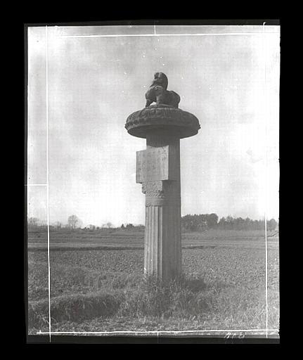 [Jiangsu]. Région de Nankin [Nanjing], Yao-houa men [Yaohuamen], [Ganjiaxian], allée funéraire de Siao King [Xiao Jing] (mort en 528 ap. J.-C.), colonne cannelée