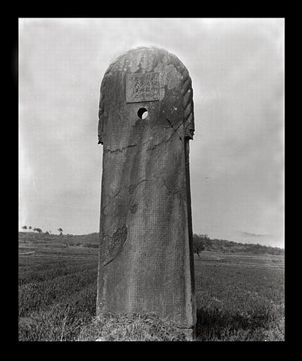 anonyme (photographe) : [Jiangsu]. Région de Nankin [Nanjing], Yao-houa men [Yaohuamen], [Ganjiaxian], allée funéraire de Siao Tan [Xiao Dan] (mort en 522 ap. J.-C.), stèle