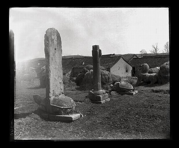 anonyme (photographe) : [Jiangsu]. Région de Nankin [Nanjing], Yao-houa men [Yaohuamen], [Ganjiaxian], allée funéraire de Siao Sieou [Xiao Xiu] (mort en 518 ap. J.-C.), ensemble