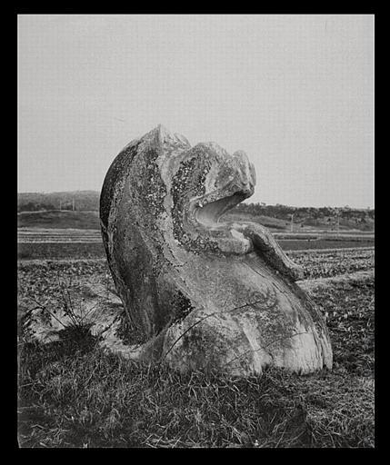 anonyme (photographe) : [Jiangsu]. Région de Nankin [Nanjing], Yao-houa men [Yaohuamen], [Ganjiaxian], allée funéraire de Siao King [Xiao Jing] (mort en 528 ap. J.-C.), lion ailé, profil droit