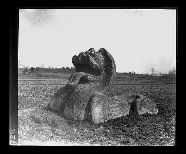 anonyme (photographe) : [Jiangsu]. Région de Nankin [Nanjing], Yao-houa men [Yaohuamen], [Ganjiaxian], allée funéraire de Siao King [Xiao Jing] (mort en 528 ap. J.-C.), lion ailé, vu de 3/4 avant