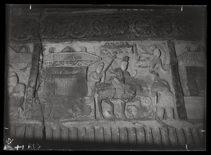 [Shanxi]. Yun-kang [Yungang], grotte n°2, rencontre du vieillard