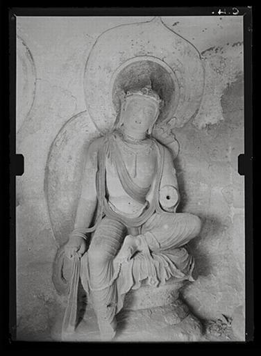 anonyme (photographe) : Shanxi. Tianlongshan, grotte Y, paroi gauche, détail, bodhisattva assis