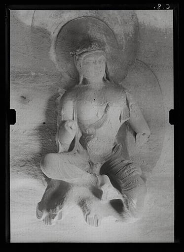 Shanxi. Tianlongshan, grotte Y, paroi droite, détail, bodhisattva assis_0
