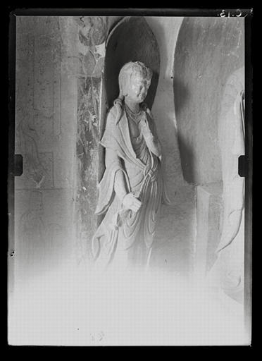 anonyme (photographe) : Shanxi. Tianlongshan, grotte B, paroi gauche, haut-relief bouddhique, détail