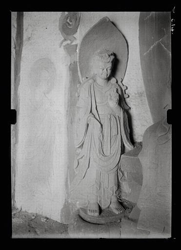 anonyme (photographe) : Shanxi. Tianlongshan, grotte B, paroi du fond, haut-relief bouddhique, détail