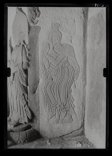 anonyme (photographe) : Shanxi. Tianlongshan, grotte B, paroi gauche, haut-relief et bas-relief bouddhiques, détail