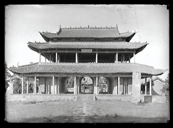 anonyme (photographe) : Shanxi. Pingyang, temple de l'empereur Yao, le pavillon à étages