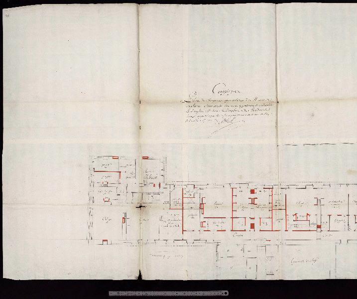 Plan de l'étage d'attique et comble du château pour servir au projet 'Compiègne / Plan des changements à faire à l'étage de mansarde du château, à l'occasion des nouveaux appartements de Monsieur le Dauphin, de Madame la Dauphine et de Mesdames. / Cotez appostiller par nous, soussigner premier architecte du Roy à Vresailles ce 17 avril 1747 '_0