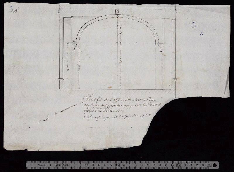 Profil de l'office bouche du roi au droit de l'arcade qui porte le mur...(arraché)_0