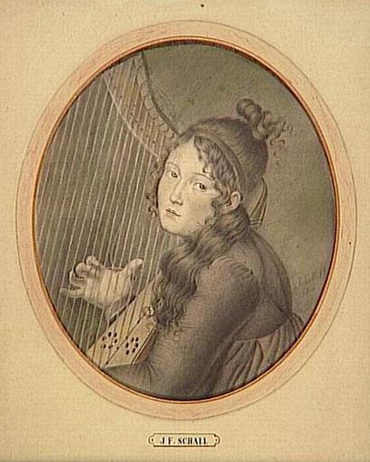 Portrait présumé de la reine Hortense de Beauharnais en buste, jouant de la harpe_0