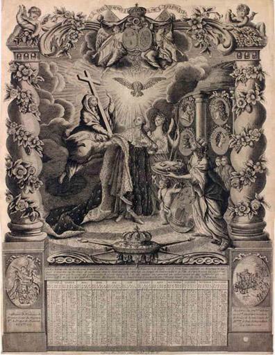 Almanach royal de 1776. Allégorie au sacre de Louis XIII_0