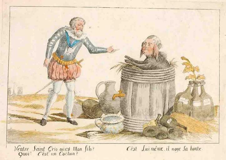 Henri IV et Louis XVI sous la forme d'un cochon dans une barrique_0