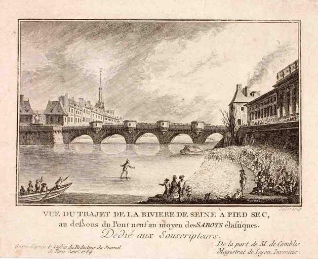 Vue du trajet de la rivière de Seine à pied sec ; Vignette d'illustration ('Le Journal de Paris')_0