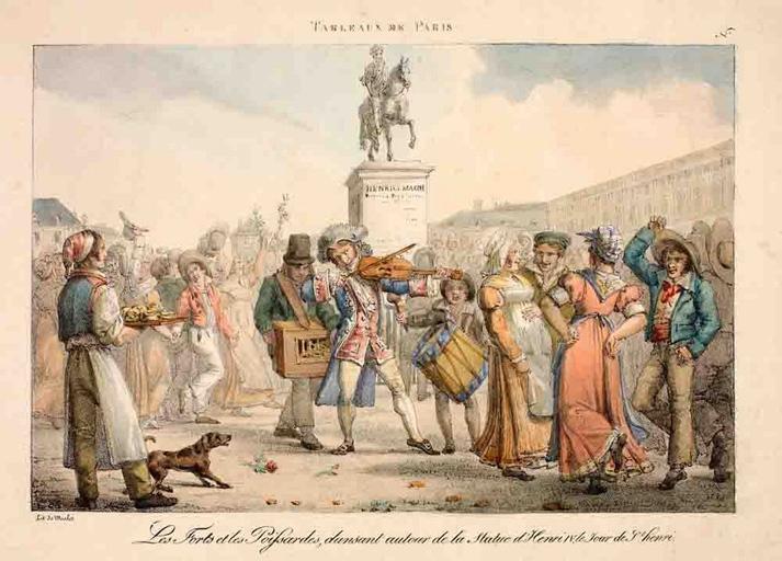 Les Forts et les Poissardes, dansant autour de la statue d'Henri IV, le jour de St Henri_0