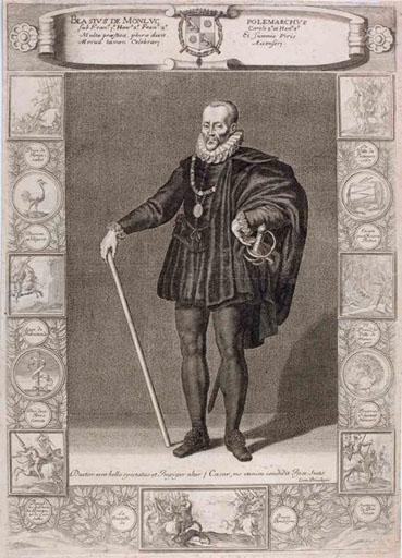 Blaise de Montluc (titre traduit; il s'agit de Blaise de Lasseran, seigneur de Montluc) ; Blasius De Monluc Polemarchus' (titre d'origine)_0