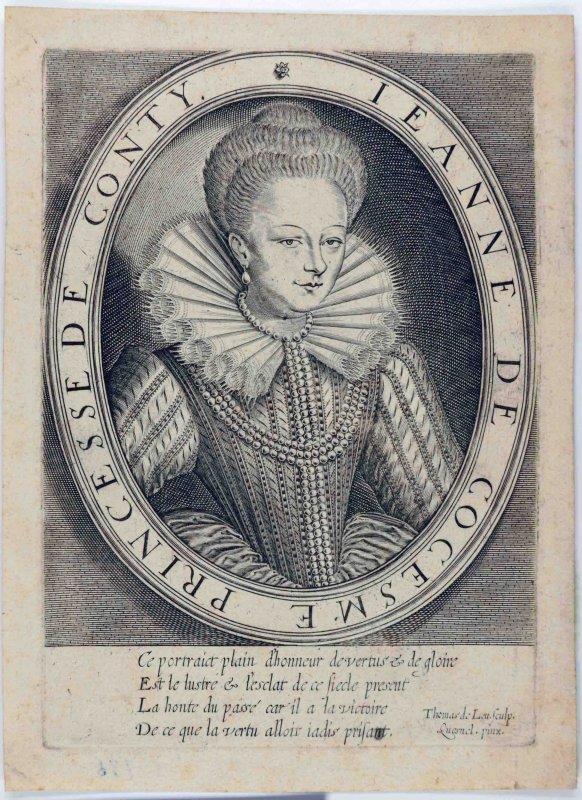 LEU Thomas de (graveur), QUESNEL François le Vieux (d'après, peintre) : Jeanne de Cocesme, princesse de Conty