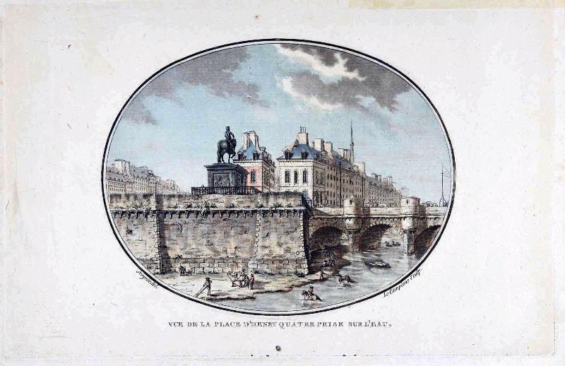 Vues pittoresques des principaux édifices de Paris : Vue de la place d'Henry quatre prise sur l'eau (titre inscrit)_0