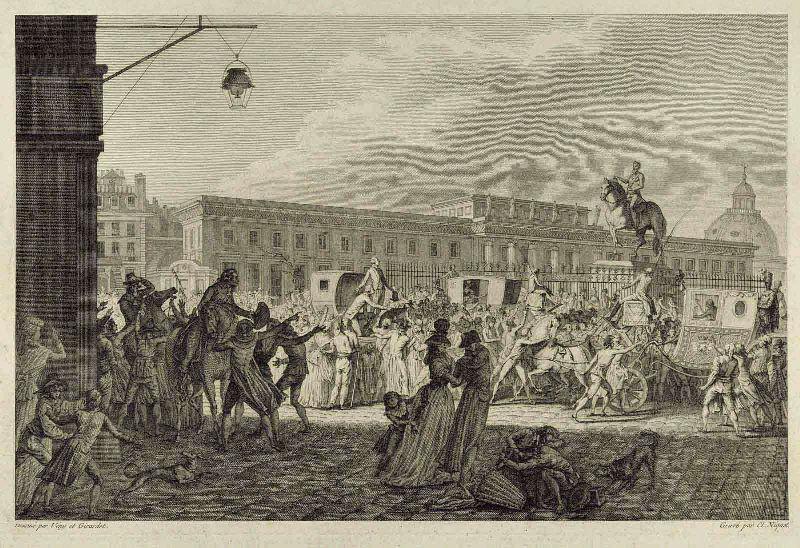 NIQUET Claude l'Aîné (graveur), VENY (d'après, dessinateur), GIRARDET Abraham (d'après, dessinateur) : Rassemblement sur le Pont Neuf , 16 septembre 1788