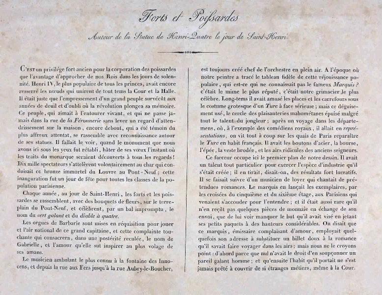anonyme (auteur) : Texte illustrant l'estampe 'Forts et Poissardes'
