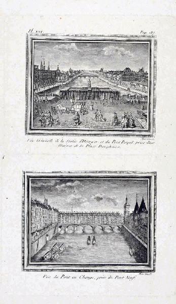 MARTINET François Nicolas (graveur) : La statue équestre d'Henri IV et le Pont au Change