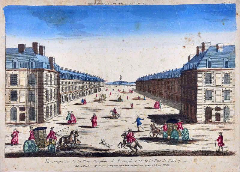 Vue de la Place Dauphine de Paris (titre inscrit en miroir) ; Vue perspective de la Place Dauphine de Paris (du côté de la Rue de Harlay) ; Vue d'optique (du côté de la Rue de Harlay)_0