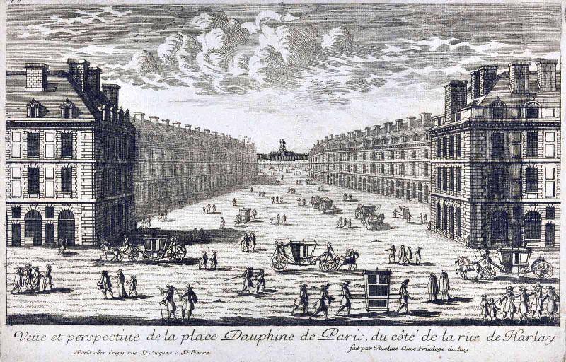 Vue perspective de la Place Dauphine de Paris (du côté de la Rue de Harlay) ; Vue d'optique (du côté de la Rue de Harlay)_0