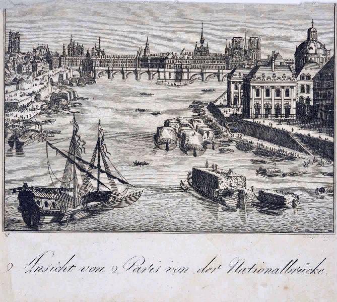 anonyme (graveur) : Le Pont Neuf vu depuis l'île de la Cité