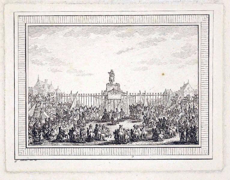 CHEDEL Quentin Pierre (graveur) : La statue équestre d'Henri IV sur le Pont Neuf