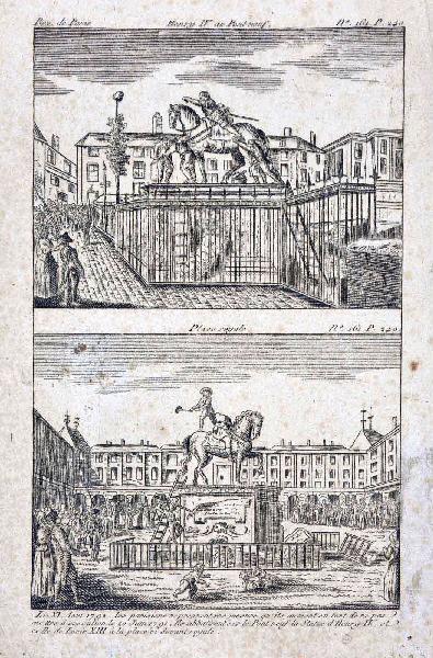 anonyme (graveur) : Démontage des statues d'Henry IV et de Louis XIII