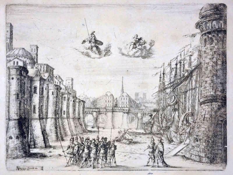 COCHIN Charles Nicolas (graveur), COCHIN le Jeune (dit); TORELLI Giacomo (d'après) : Décor pour une pièce de théâtre, Vue du Pont Neuf côté du quai de la Vallée