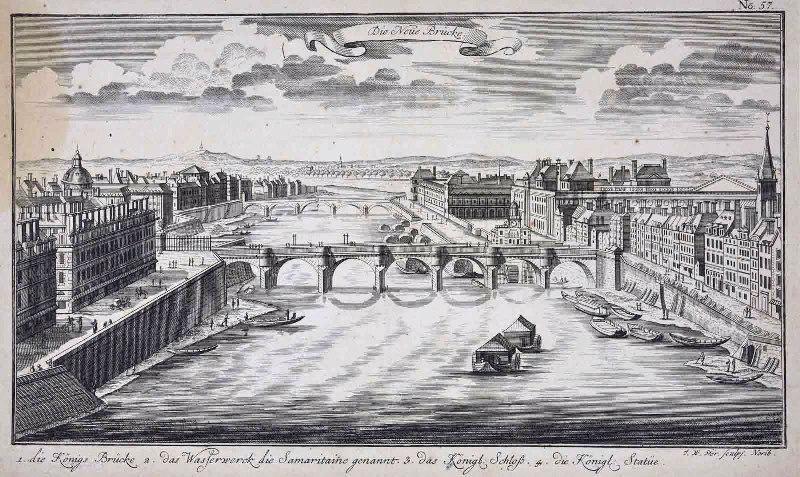 STOR (graveur) : Vue du Pont Neuf côté du quai de la Vallée