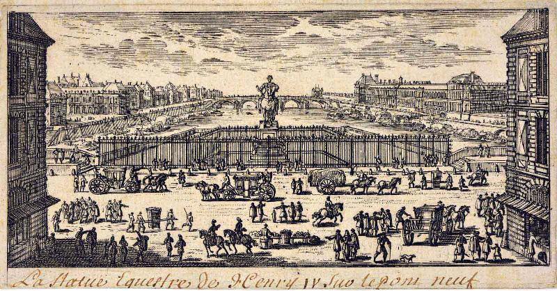 anonyme (graveur) : La statue équestre d'Henri IV sur le Pont Neuf