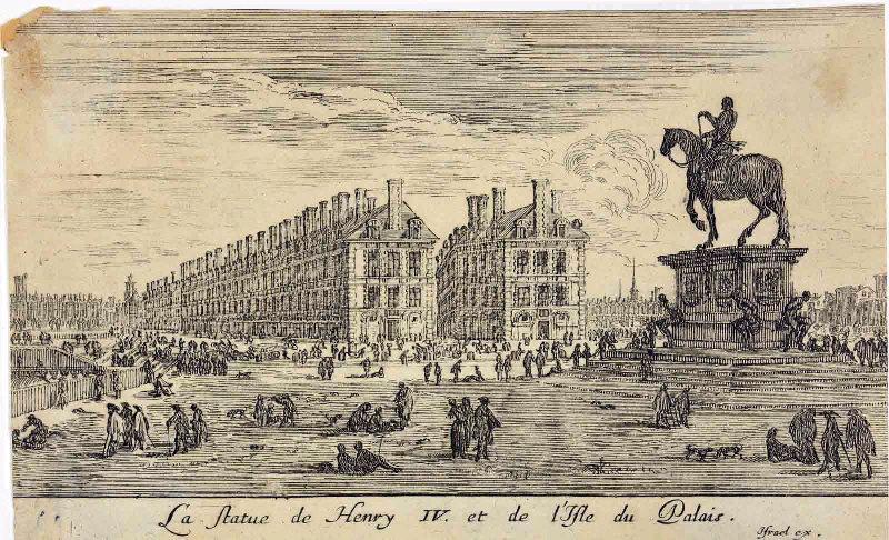 SILVESTRE Israël le Jeune (graveur, éditeur) : La statue de Henry IV et de l'isle du Palais (titre inscrit)