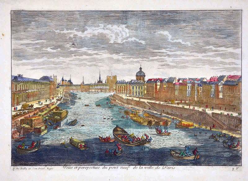 anonyme (graveur), POILLY Nicolas le Vieux de (éditeur) : Veüe et perspective du Pont Neuf de Paris