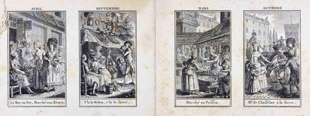 L'almanach des marchés ; Les saisons ; Avril, septembre, mars, octobre (titre inscrit)