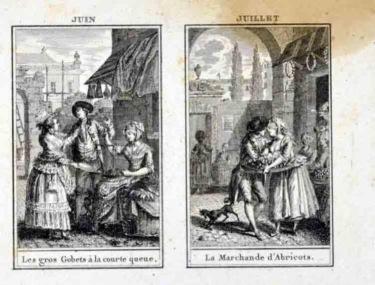L'almanach des marchés ; Les saisons ; Juin, juillet, mai, août (titre inscrit)