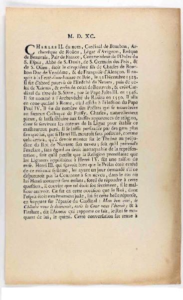 AUBERT Michel (graveur), ODIEUVRE Michel (éditeur) : Texte illustrant l'estampe de Charles de Bourbon