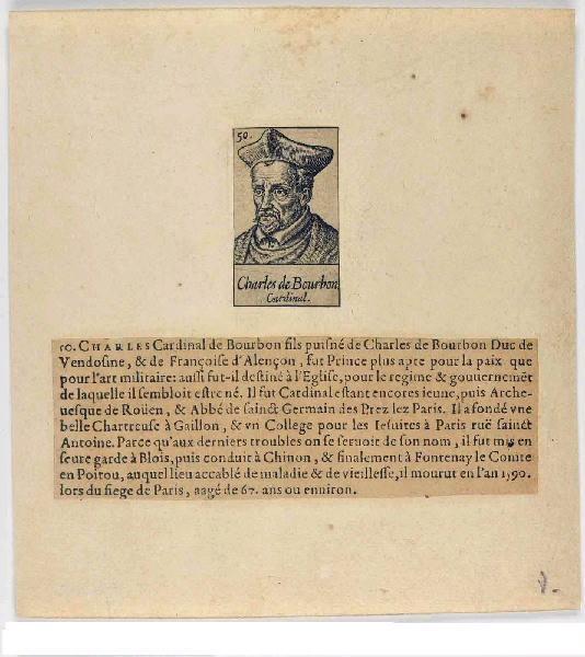 GAULTIER Léonard (graveur), LE CLERC Jean (éditeur) : Charles de Bourbon, cardinal archevêque de Rouen