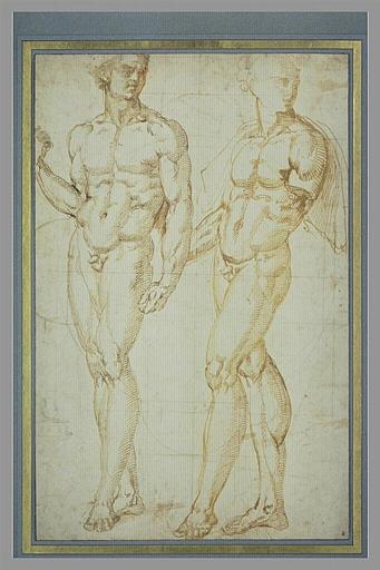 Deux hommes nus, debout ; dessin géométrique en-dessous des figures