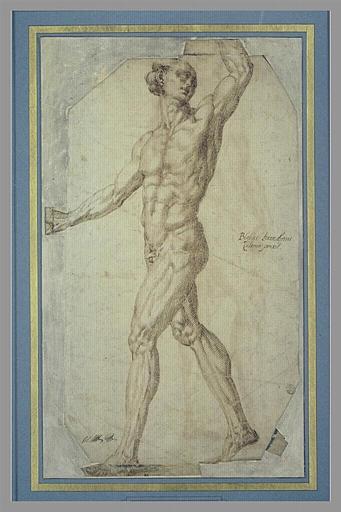 BANDINELLI Baccio : Homme nu, de profil, marchant vers la gauche, le bras gauche levé