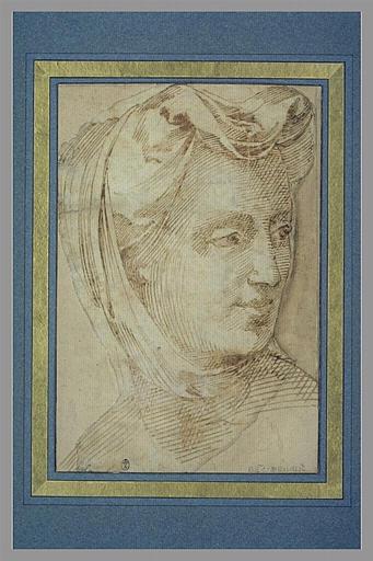 BANDINELLI Baccio : Tête de femme coiffée, tournée vers la droite