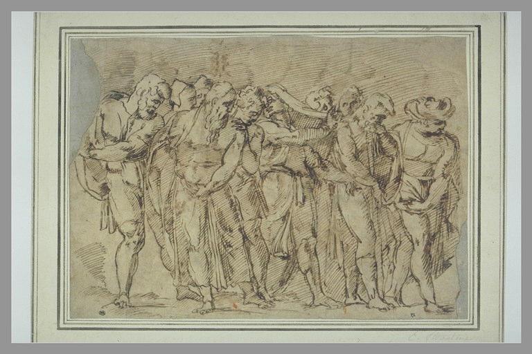 Groupe de figures debout, la première à droite est coiffée d'un turban