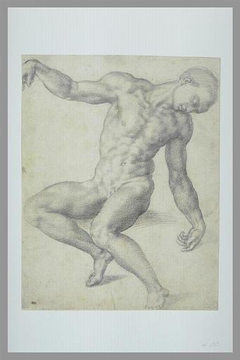 BANDINELLI Baccio : Homme nu, assis, les bras écartés, la tête penchée vers la droite