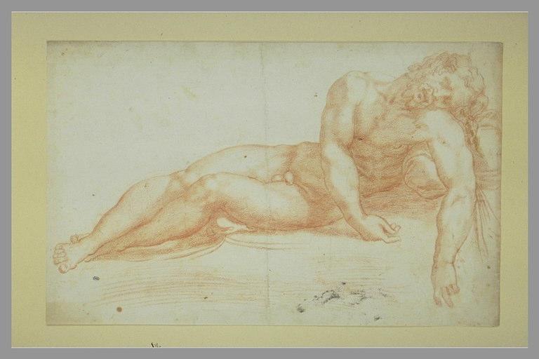 Homme nu couché, vu de face, les bras pendant en avant : Christ mort